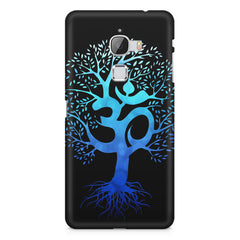 A beautiful blue tree with Om inscribed LeEco le max hard plastic printed back cover