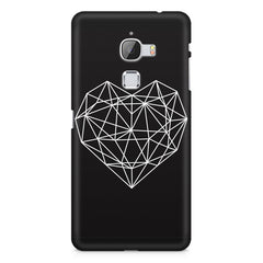 Black & white geometrical heart design LeEco Le Max printed back cover