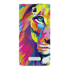 Colourfully Painted Lion design,  Lenovo A2010 printed back cover