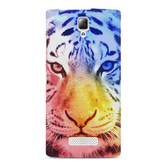 Colourful Tiger Design Lenovo A2010 hard plastic printed back cover
