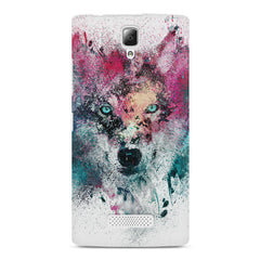 Splashed colours Wolf Design Lenovo A2010 hard plastic printed back cover