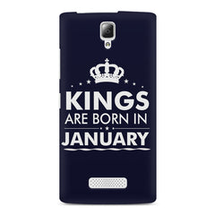 Kings are born in January design    Lenovo A2010 hard plastic printed back cover