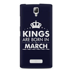 Kings are born in March design    Lenovo A2010 hard plastic printed back cover