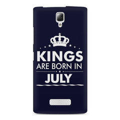 Kings are born in July design    Lenovo A2010 hard plastic printed back cover