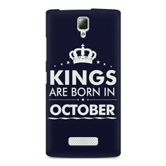 Kings are born in October design    Lenovo A2010 hard plastic printed back cover