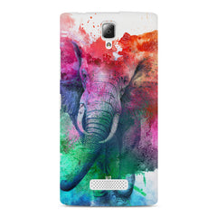 colourful portrait of Elephant Lenovo A2010 hard plastic printed back cover