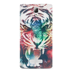 Tiger with a ferocious look Lenovo A2010 hard plastic printed back cover