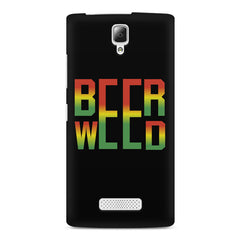 Beer Weed Lenovo A2010 hard plastic printed back cover