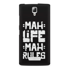 Mah Life Mah Rules Quirky design,  Lenovo A2010 printed back cover