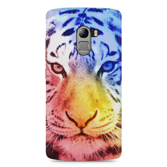 Colourful Tiger Design Lenovo A7010 hard plastic printed back cover