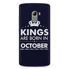 Kings are born in October design    Lenovo A7010 hard plastic printed back cover