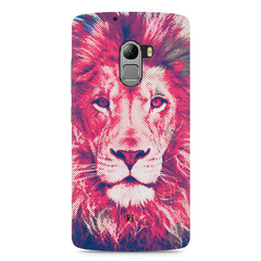Zoomed pixel look of Lion design Lenovo A7010 hard plastic printed back cover