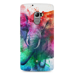colourful portrait of Elephant Lenovo A7010 hard plastic printed back cover