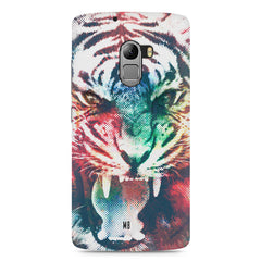 Tiger with a ferocious look Lenovo A7010 hard plastic printed back cover