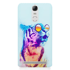 A funny, colourful yet cool portrait of a tiger wearing reflectors. Lenovo k5 note hard plastic printed back cover
