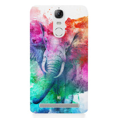 colourful portrait of Elephant Lenovo lemon 3 hard plastic printed back cover