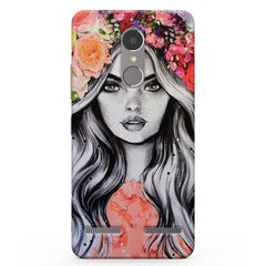 Beautiful Girl With Pretty Floral Hat Vibe K6 printed back cover