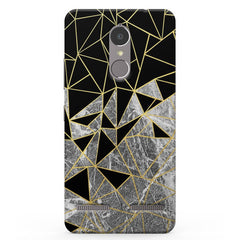 Black and golden marble Vibe K6 printed back cover