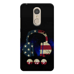 America tunes Blue sprayed  Lenovo k6 note printed back cover