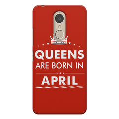 Queens are born in April design    Lenovo k6 note hard plastic printed back cover