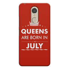 Queens are born in July design    Lenovo k6 note hard plastic printed back cover