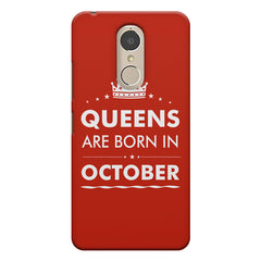 Queens are born in October design    Lenovo k6 note hard plastic printed back cover