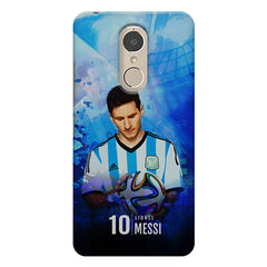 No.10 Lionel Messi Argentina with a football in hand design    Lenovo k6 note hard plastic printed back cover