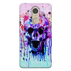 Skull with colour dripping design Lenovo k6 note hard plastic printed back cover