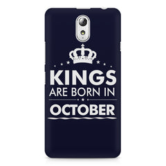 Kings are born in October design    Lenovo Vibe P1M hard plastic printed back cover