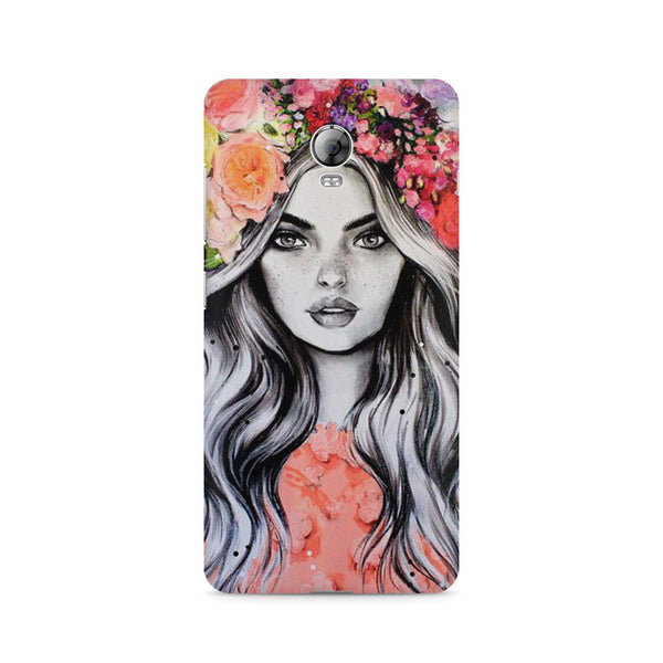 Beautiful Girl With Pretty Floral Hat Lenovo Vibe P1 printed back cover