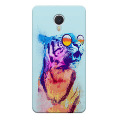 A funny, colourful yet cool portrait of a tiger wearing reflectors. Meizu M3 note hard plastic printed back cover