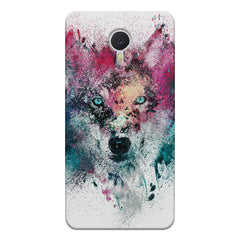 Splashed colours Wolf Design Meizu M3 note hard plastic printed back cover
