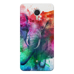 colourful portrait of Elephant Meizu M3 note hard plastic printed back cover