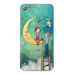 Couple on moon sketch design Micromax Canvas Fire 4 A107 printed back cover