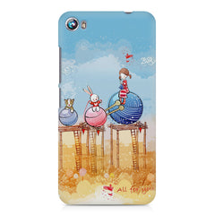 Woollen ball ride sketch design Micromax Canvas Fire 4 A107 printed back cover