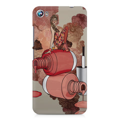 Girl on nail paints sketch design Micromax Canvas Fire 4 A107 printed back cover