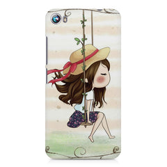 Girl swinging sketch design Micromax Canvas Fire 4 A107 printed back cover