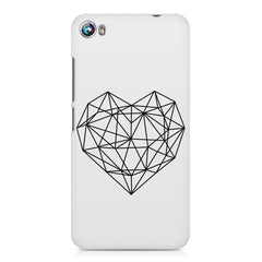 Black & white geometrical heart design Micromax Canvas Fire 4 A107 printed back cover