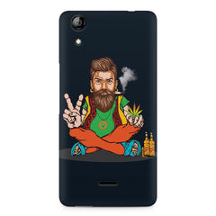Beard guy smoking sitting design Micromax Canvas Selfie 2 Q340 printed back cover