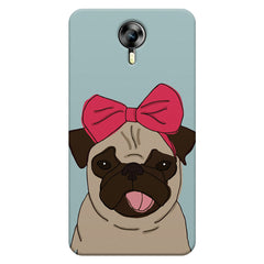 Pug with a bow on head sketch design    Micromax Canvas Xpress 2 hard plastic printed back cover
