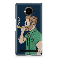 Pipe smoking beard guy design Micromax Yuphoria printed back cover