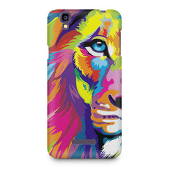 Colourfully Painted Lion design,  Micromax Yureka printed back cover