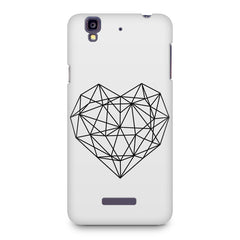 Black & white geometrical heart design Micromax Yureka printed back cover