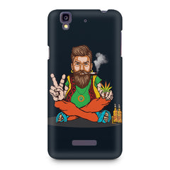Beard guy smoking sitting design Micromax Yureka printed back cover