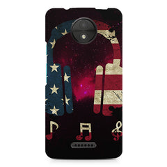 America tunes Pink sprayed Moto C Plus printed back cover
