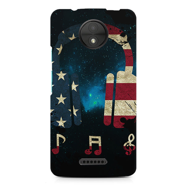 America tunes Blue sprayed  Moto C  printed back cover
