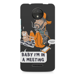 Ba by, I am in a meeting  design, Moto C Plus printed back cover