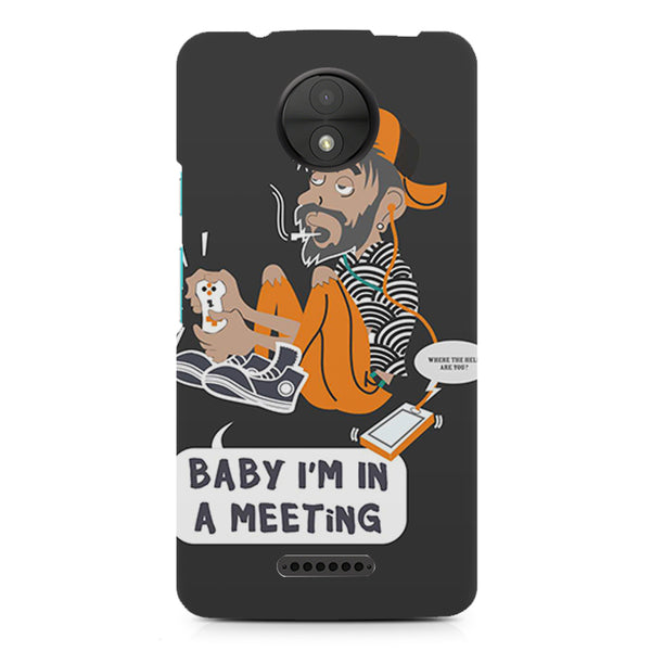 Ba by, I am in a meeting  design, Moto C printed back cover