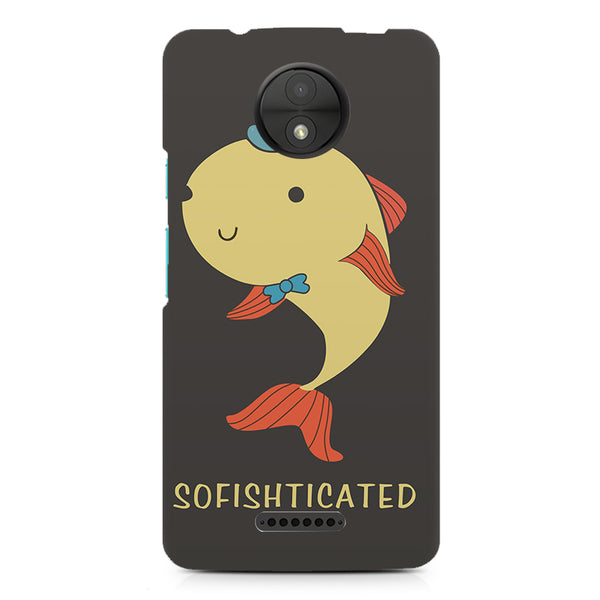 Sophisticated Fish Sofishticated Word Pun design, Moto C printed back cover