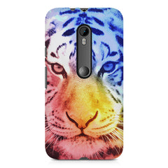 Colourful Tiger Design Moto X play hard plastic printed back cover